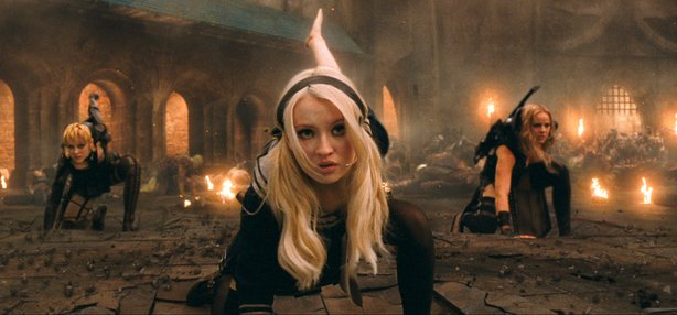 "Striking an action pose: Jena Malone, Emily Browning and Abbie Cornish in ""Su..."