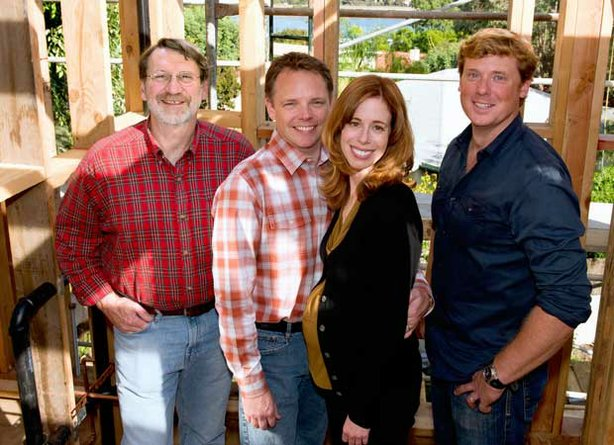 Master carpenter Norm Abram, homeowners Kurt Albrecht and Mary Blee, and host...