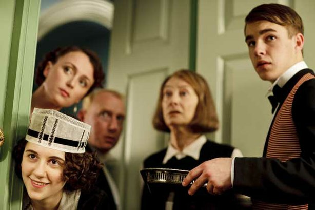 (left to right) Ellie Kendrick as Ivy Morris, Keeley Hawes as Lady Agnes Holland, Adrian Scarborough as Mr. Pritchard, Jean Marsh as Rose Buck and Nico Mirallegro as Johnny Proude