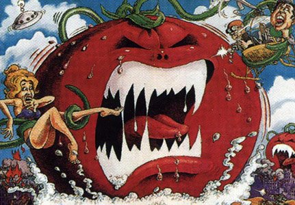 "A poster of the cult classic film, ""Attack of the Killer Tomatoes."""
