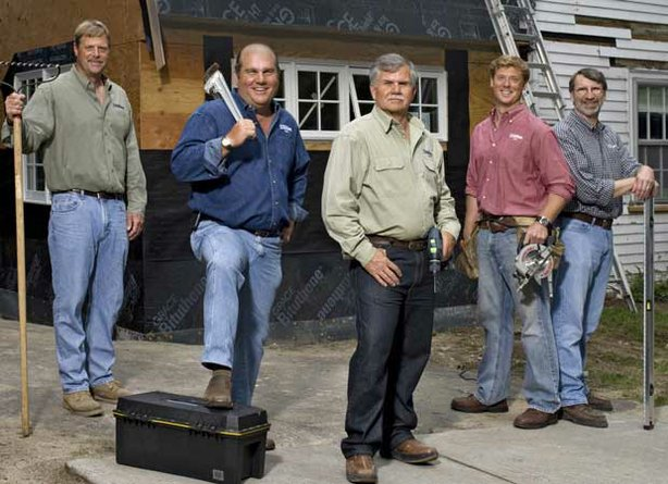 THIS OLD HOUSE crew: landscape contractor Roger Cook, plumbing and heating expert Richard Trethewey, general contractor Tom Silva, host Kevin O'Connor and master carpenter Norm Abram.