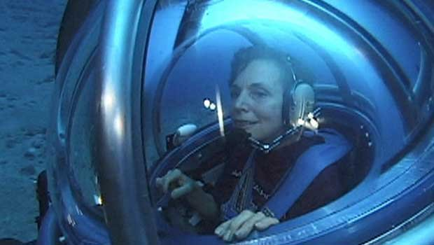 Oceanographer Sylvia Earle, photographed in an underwater vehicle, in the