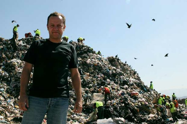 Vik Muniz at the world's largest garbage dump, Jardim Gramacho, on the outski...