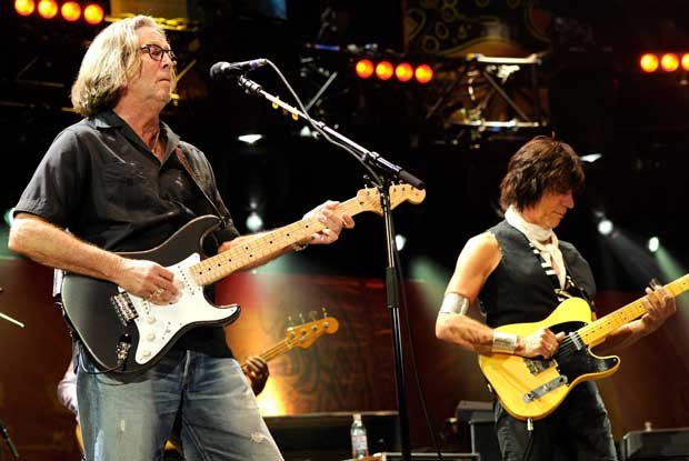 Grammy Award-winning guitar superstar Eric Clapton and Jeff Beck perform on s...