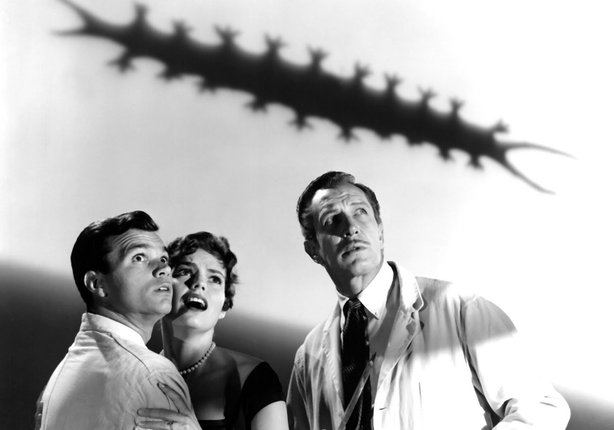 "Darryl Hickman (brother of ""Dobie Gillis'"" Dwayne), Judith Evelyn, and Vincent Price compete with the gimmicks in ""The Tingler."""