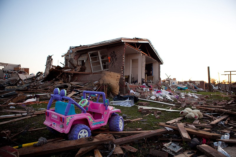The sun sets on the devasted Rosedale community on April 28, 2011 in Tuscaloo...