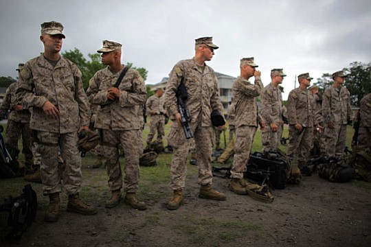 Marines prepare for deployment as part of the 2nd Marine Expeditionary Brigad...