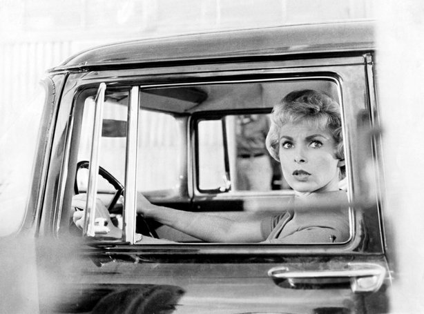 "Janet Leigh in Alfred Hitchcock's ""Psycho."""