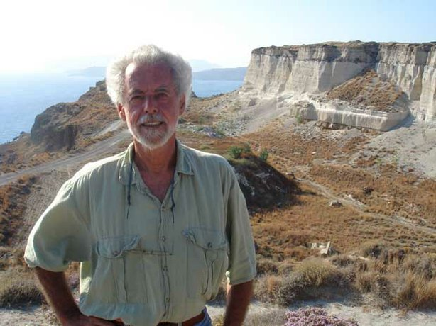 Volcanologist, Floyd McCoy in Santorini, an island southeast from Greece.