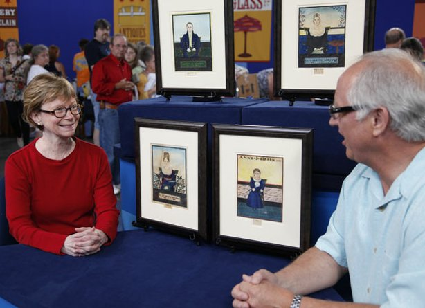 """A guest at ANTIQUES ROADSHOW in Biloxi, Mississippi, with four 1827 portraits of her ancestors painted by the mysterious figure known as """"The Guilford Limner."""" Appraiser Ken Farmer deems the beautifully articulated watercolors part of a very small collection of distinctive portraits ascribed to the North Carolina-based artist who never signed his work. These paintings maintain Limner's distinctive style of beautifully articulated faces and oversized eyes and are valued conservatively at $60,000."""