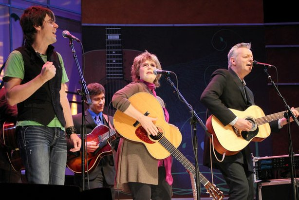 Australian musician Anthony Snape, Grammy nominated singer/songwriter Pam Rose, and guitarist Tommy Emmanuel perform live on stage together at Balboa Theatre in San Diego, February 2011.
