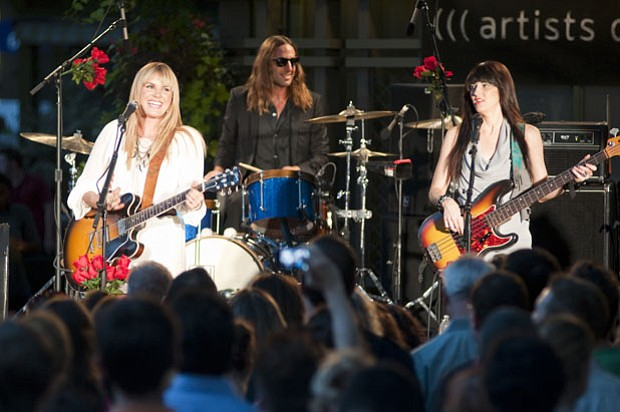 (l to r): Grace Potter, Matt Burr and Catherine Popper perform on August 19, ...