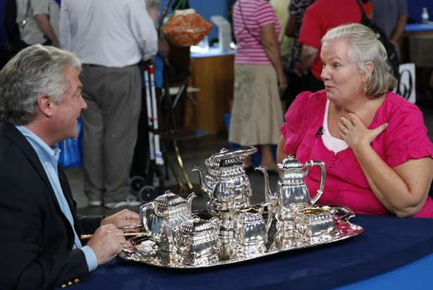 At the ANTIQUES ROADSHOW event in Washington, D.C., this guest is thrilled to learn a tea set she inherited from her mother is an extremely rare turn-of-the-20th-century Gorham silver tea set, part of the very limited, hand-wrought Martelé line. Appraiser Stuart Whitehurst values this shining example of Art Nouveau design at $90,000.