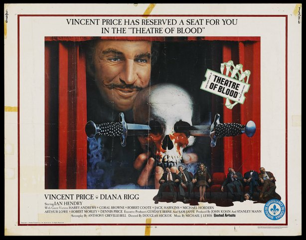 """Poster for """"Theater of Blood"""" starring Vincent Price."""