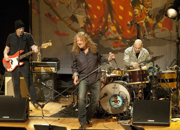 (l to r): Byron House, Robert Plant and Marco Giovino perform on stage, Febru...