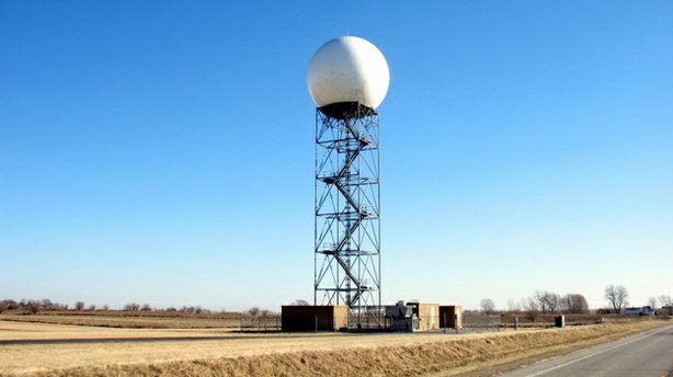 This NEXRAD radar tower is located in central Illinois. It's part of a network of sensors that help scientists track and predict tornadoes and other weather. Scientists want to supplement this system with an even more precise tracking system to help them become better at predicting severe weather.