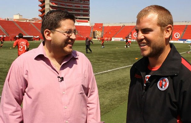 In the premier episode of CROSSING SOUTH, host Jorge Meraz interviews athletes from the Tijuana Xolos soccer club.