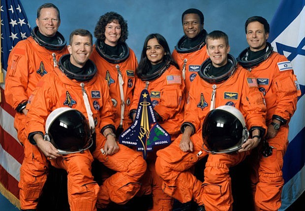 Official crew photo from Mission STS-107 on the space shuttle Columbia
