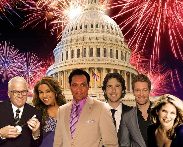 "The all-star line-up for ""A Capitol Fourth 2011"" includes (from left to right) Steve Martin, Jordin Sparks, Jimmy Smits, Josh Groban and Kelli O'Hara."