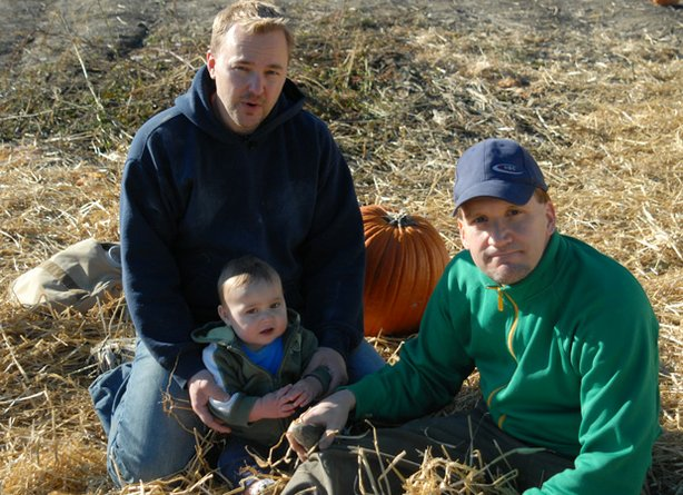 "Randy and Drew, a gay family, and parents to baby Jack as featured in the documentary ""Fatherhood Dreams."""