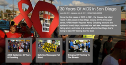 Since the first cases of AIDS in 1981, the disease has killed nearly 7,300 people in San Diego County. In this three-part series, KPBS Health Reporter Kenny Goldberg recounts the epidemic's early days, explores how safe sex messages may be falling short, and looks at a unique effort in San Diego that's trying to take HIV testing door-to-door.