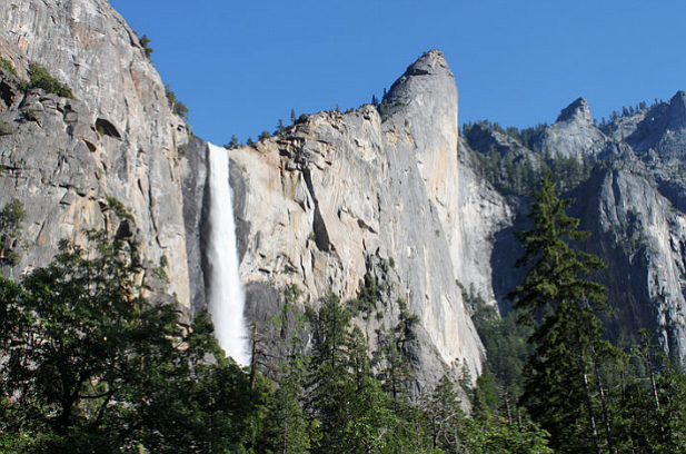 Bridalveil Fall as seen from the floor of Yosemite Valley. The park's waterfa...