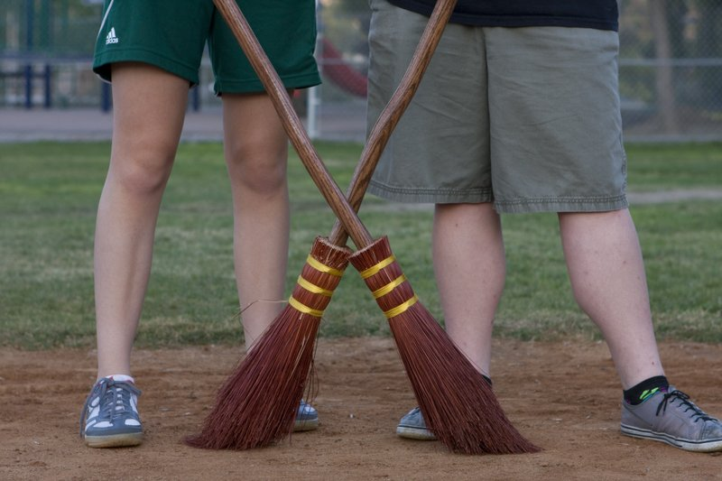 These Helix High Quidditch players have brooms modeled after the Harry Potter...