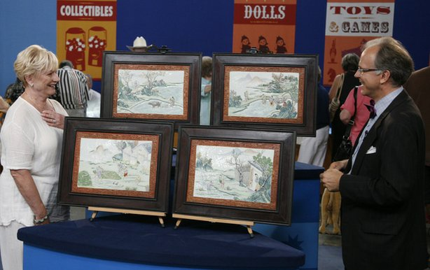 "At ""Antiques Roadshow"" in San Antonio, Texas, this woman brings four unusual Chinese porcelain panels. When put together, they tell a wonderful story of the seasonal harvest. She finds herself with a happy ending to her own story when appraiser Lark Mason of iGavel Inc., values the collection at $40,000 to $60,000."