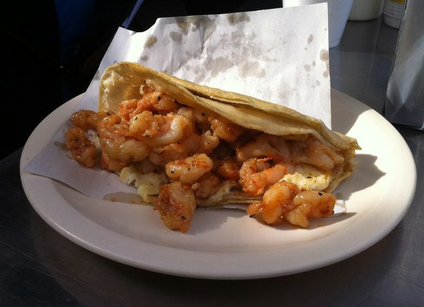 "Promotional photo of a seafood taco as featured in ""Mexico - One Plate At A T..."