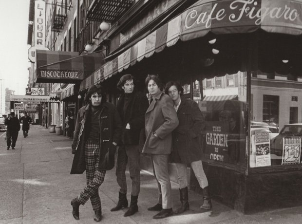 Promotional photo of The Lovin' Spoonful standing in front of Cafe Figaro, a ...