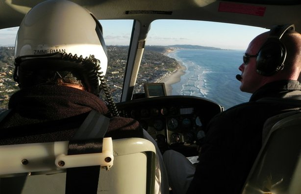 """Aerial shot from the inside of a helicopter during the filming of """"San Diego Above And Beyond."""""""