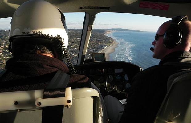 Aerial shot from the inside of a helicopter during the filming of