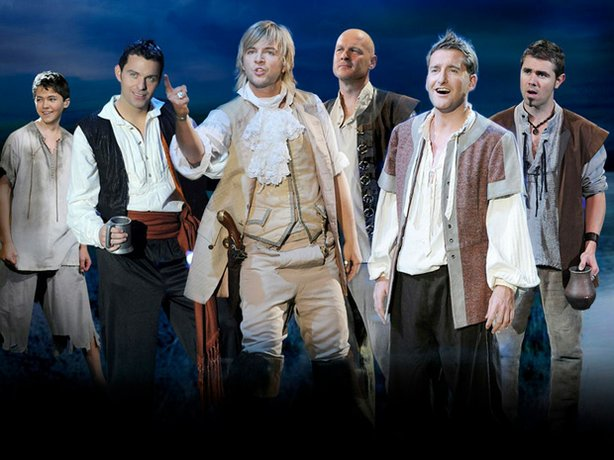 Promotional image of Celtic Thunder: Damian McGinty, Ryan Kelly, Keith Harkin, George Donaldson, Paul Byrom and Emmet Cahill