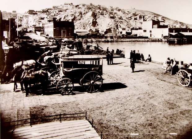 New land created in San Francisco's Yerba Buena Cove c. 1855. Telegraph Hill ...