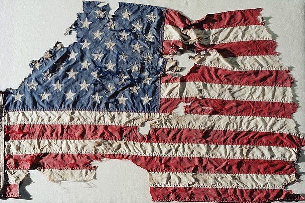 An American flag that weathered the attack on the World Trade Center.