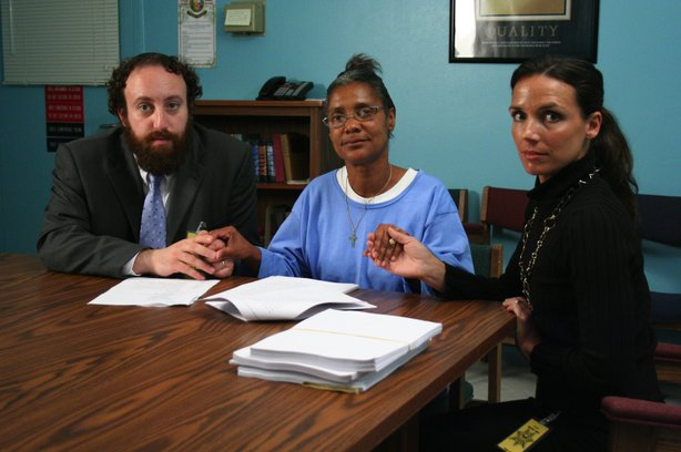 Debbie Peagler flanked by her lawyers,  Joshua Safran and Nadia Costa.
