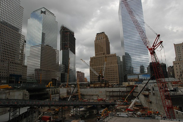 Ground Zero in 2008, when One World Trade Center was only 15 feet above ground.
