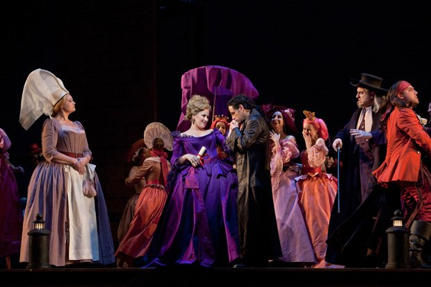 Diana Damrau as Countess Adèle, and Juan Diego Flórez in the title role (cent...
