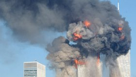 A fiery blasts rocks the World Trade Center after being hit by two planes September 11, 2001 in New York City.