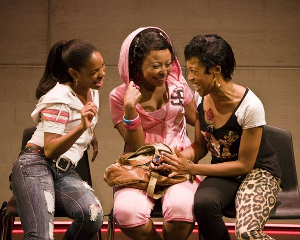 "(L-R) Angela Lewis as ""Annie,"" Nikiya Mathis as ""Margie"" and Cherise Boothe as ""Talisha"" in La Jolla Playhouse's world-premiere production of MILK LIKE SUGAR, by Kirsten Greenidge, directed by Rebecca Taichman, playing in the Sheila and Hughes Potiker Theatre August 30 - September 25; photo by Craig Schwartz."