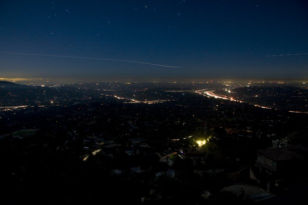 The view of a darkened East County from the top of Mount Helix.
