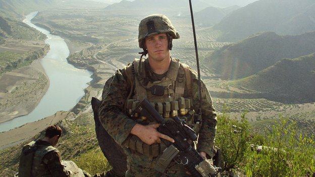 Marine Dakota Meyer poses during his deployment in Kunar province, Afghanista...