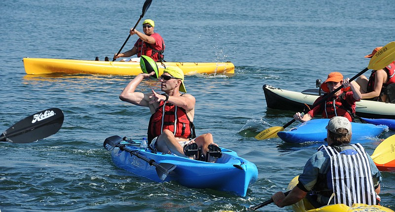 Military veterans kayak during the National Veterans Sports Clinic in San Diego.