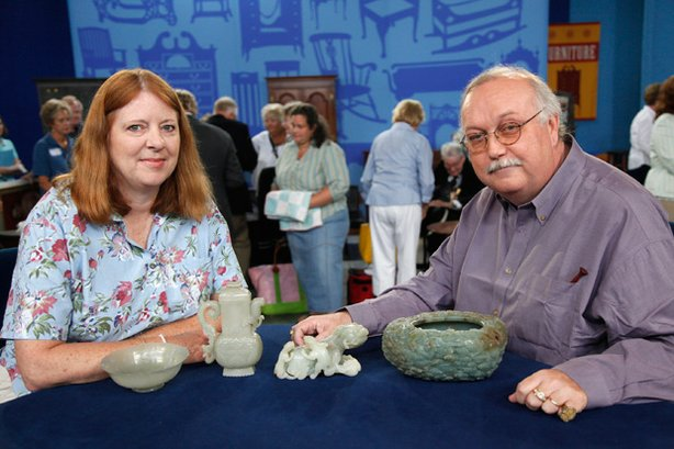 "This guest makes ROADSHOW history at the event Raleigh, North Carolina, with the highest-value appraisal ever captured in the series' 13-year history. Her collection of four Chinese carved jade objects from the Quianlong Period (1736-1795) was inherited from her father, who bought the objects inexpensively in China in the 1930s and 1940s. Asian arts appraiser James Callahan noted the outstanding quality of the pieces and was rewarded by finding a symbol on the bottom of the large jade bowl that translates as ""by imperial order."" Callahan estimates the value of the collection as high as $1,070,000."