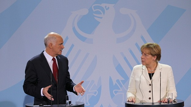 German Chancellor Angela Merkel and Greek Prime Minister George Papandreou sp...