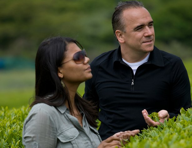 "Host Marja and husband, chef Jean-Georges Vongerichten, visit the Amore Pacific Tea Gardens in Jeju Island in ""The Jeju Chronicles."""