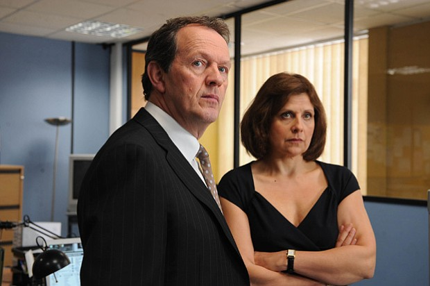 Kevin Whately as DI Lewis and Rebecca Front as Innocent in