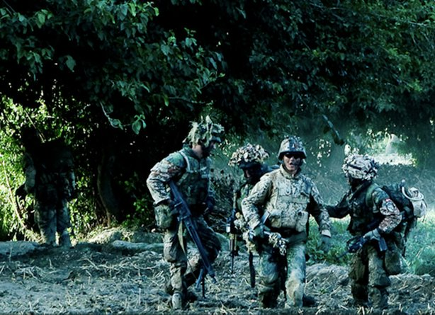 Photo of a platoon of Danish soldiers in combat in Afghanistan, from the film...