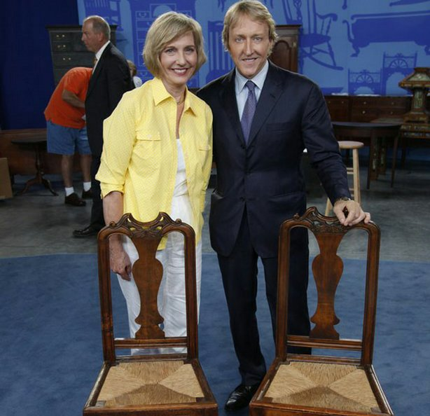 """At """"Antiques Roadshow"""" in Raleigh, North Carolina, this guest brings in a pair of side chairs she bought at an antiques store in New England. Appraiser Leigh Keno is surprised to see such large feet on what is undoubtedly the work of New England furniture maker John Gaines, produced between 1725 and 1730. Despite diminished value because the chairs have been stripped of original paint, Keno assigns the pair an auction estimate of $30,000 to $50,000."""