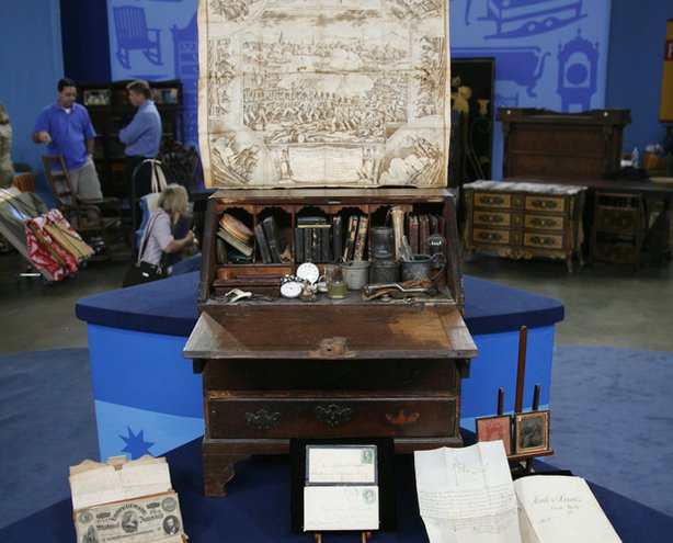 "This rare desk, passed down through generations of the owner's family, contains documents from his ancestors in the 1600s all the way through to his grandparents in the 1960s — a veritable archeological dig. Appraiser Andrew Brunk declares the piece a ""treasure chest"" with a value of $100,000."